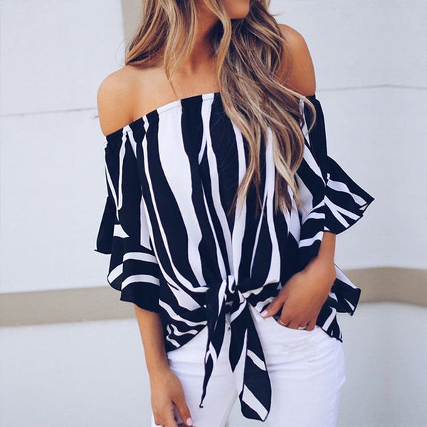 Summer Off Shoulder Printed Stripe Blouse Women Tops