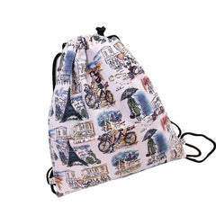 Printing Drawstring Bag Women Canvas Backpack