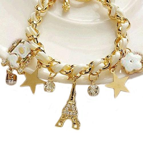 New Women Jewelry Multi-element Gold Chain Leather Rope Crystal Handwork Bracelet