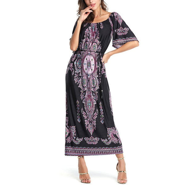 Women Loosen Casual Flare Sleeve Bohemian Dresses
