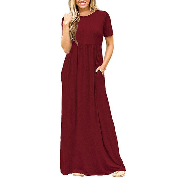 Summer Beach Women Maxi Dress Vintage O-Neck