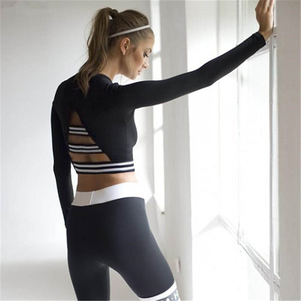 Women Long Sleeve Sport Slim Blouse Tops