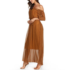 Summer Chiffon Off Shoulder Dress Women Beach