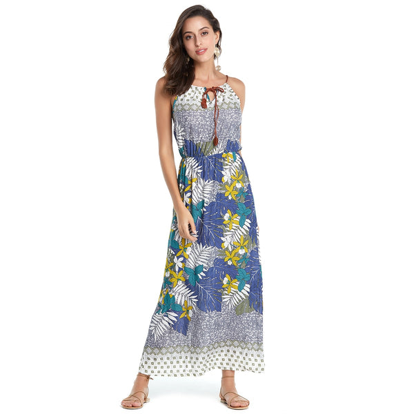 Floral Print Maxi Long Off shoulder Women Beach Dress