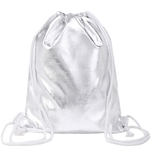 Women Drawstring Punk Silver Shoulder Bags