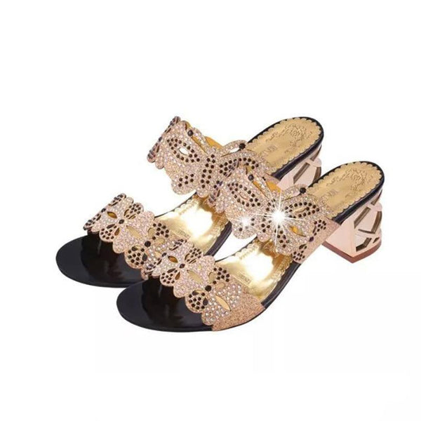 Women Sandals Rhinestone Open Toe Heel Shoes