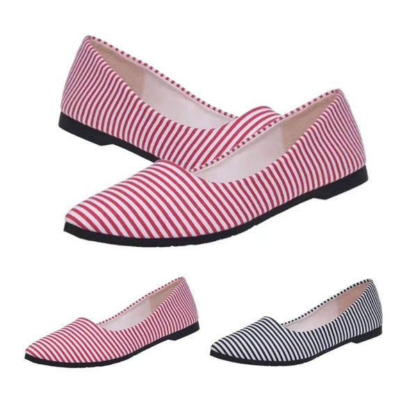Women Stripe Pattern Soft PU Leather Flat Shoes