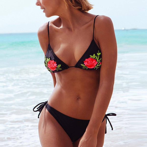 Bikini Floral Embroidery Push-Up Swimsuit