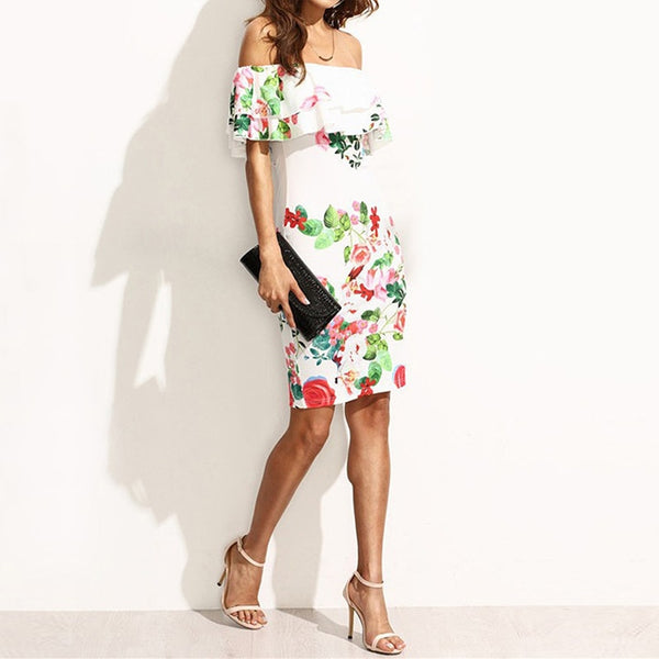 Women Beach Floral Dress Loose Printing