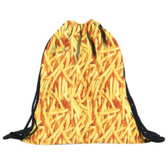 3D Drawstring Unisex French Fries Printing Bags
