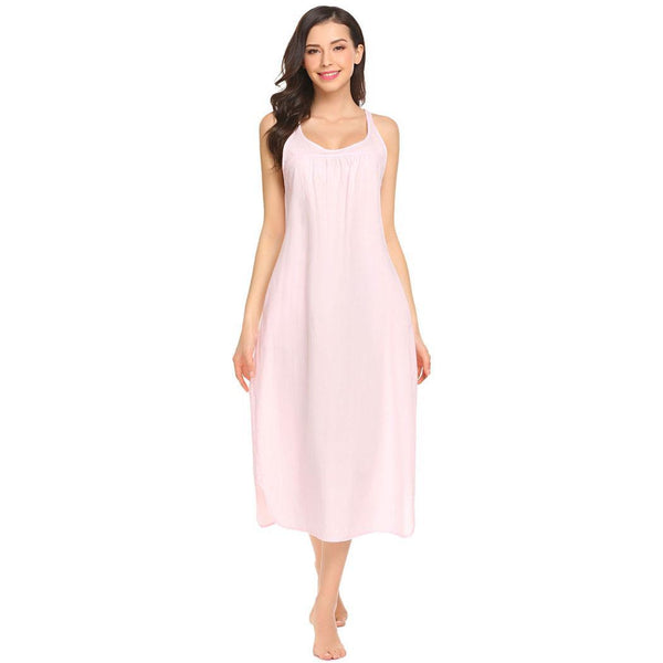 Cotton Loose Sleeveless Nightgown Women Sleepwear