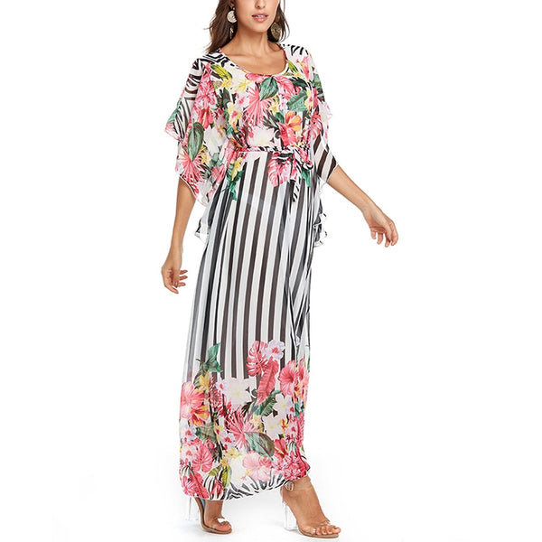 Maxi Long Chiffon Dress Women Elegant Print