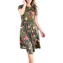 Short Sleeve O-Neck Floral Print Midi Dresses