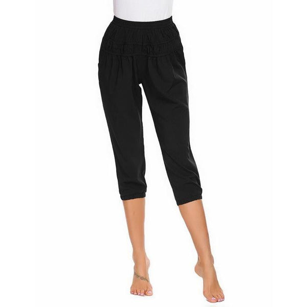 Multi Layer Ruched Waist Women Sleep Bottoms