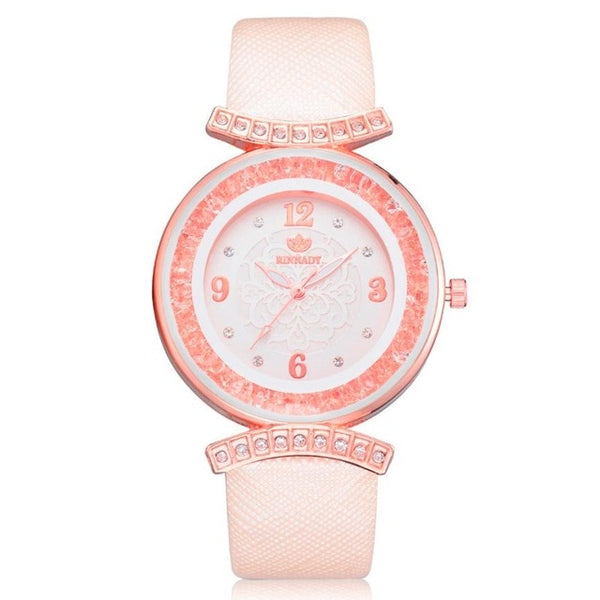 Fashion Leather Band Analog Quartz Diamond Wrist Watch with heart clock
