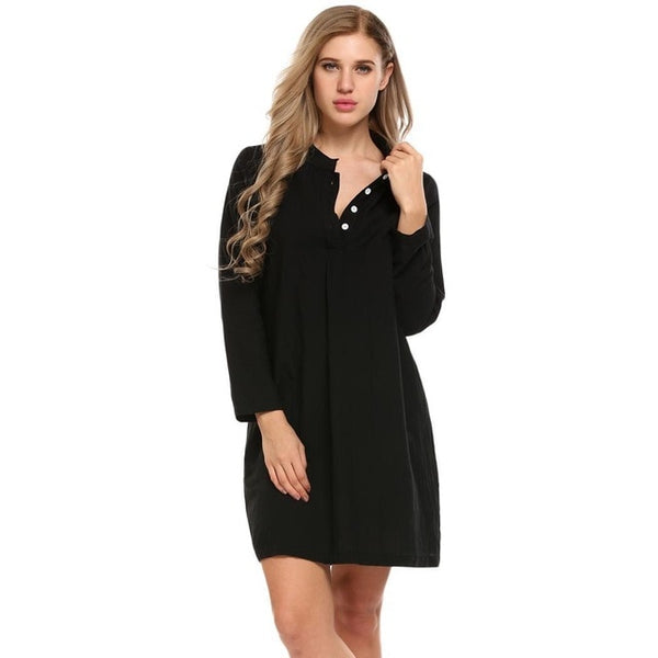 Women Long Sleeve Nightdress Sleepwear Button Down