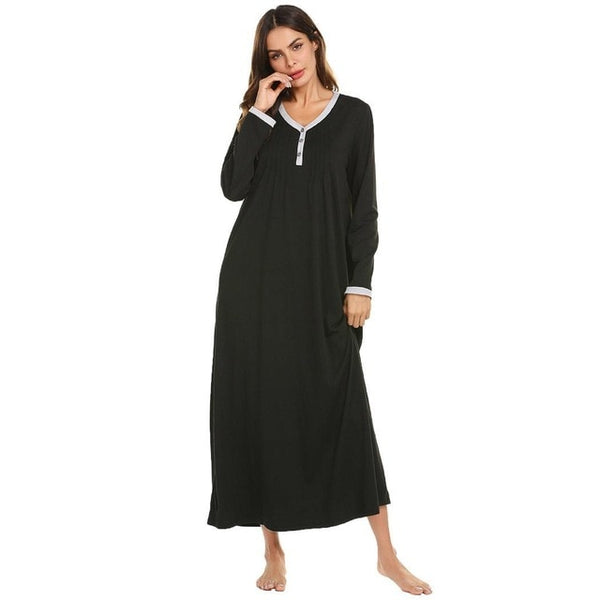 Long Chemise Nightdress Women Casual O-Neck Sleepwear