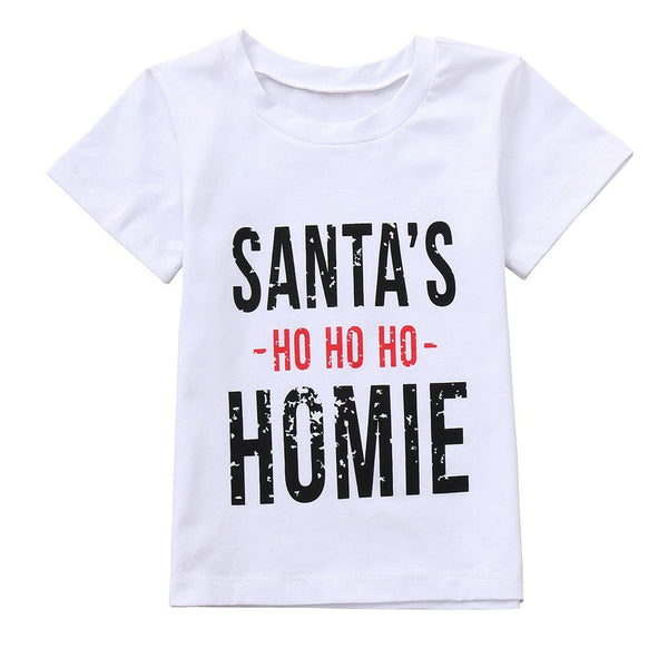 Christmas Clothes Baby Boys Letter Short Sleeve Tops