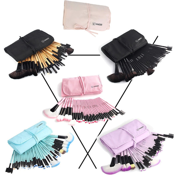 32Pcs Brushes Eye Shadows Lipstick Powder