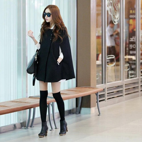 Woolen Casual Loose Overcoat Hooded Collar Outwear