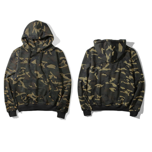 Slim Men Hooded Sweatshirt Camouflage Pullovers