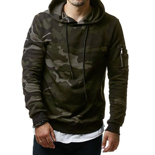 Mens Camouflage Hoodies Slim Cotton Hip Hop Sweatshirts