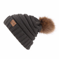 Natural Raccoon Fur Pom Hat Warm Wool Winter