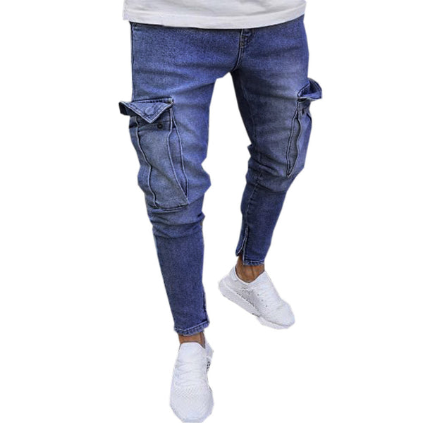 Men Stretch Pants Slim Fit Zipper Jeans