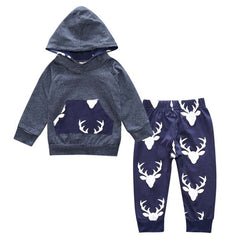 Baby Boy Deer Print Clothes Sets Long Sleeve