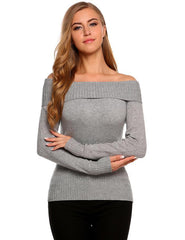 Knitted Autumn Sexy Long Off Slash Solid Women Sweaters
