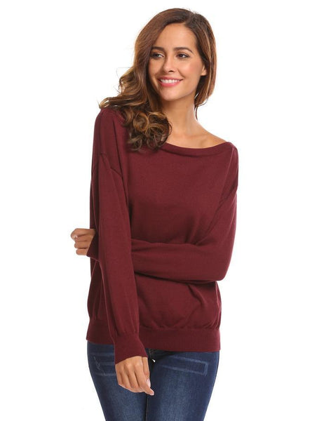 Loose Women Sweaters Outwear O Neck Solid