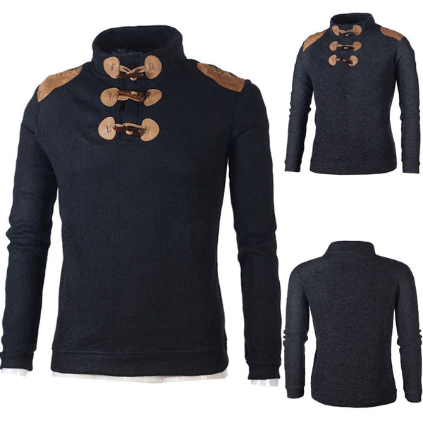 Men's Autumn Casual Winter Button Choker Long Sweater