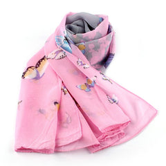 Autumn Ladies 1PC Women Chiffon Soft Scarf Butterfly