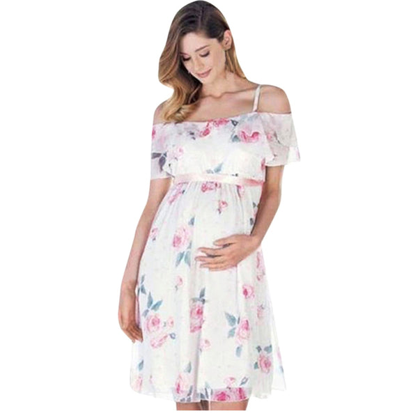 Tops clothes Floral Falbala Pregnant Off Shoulder