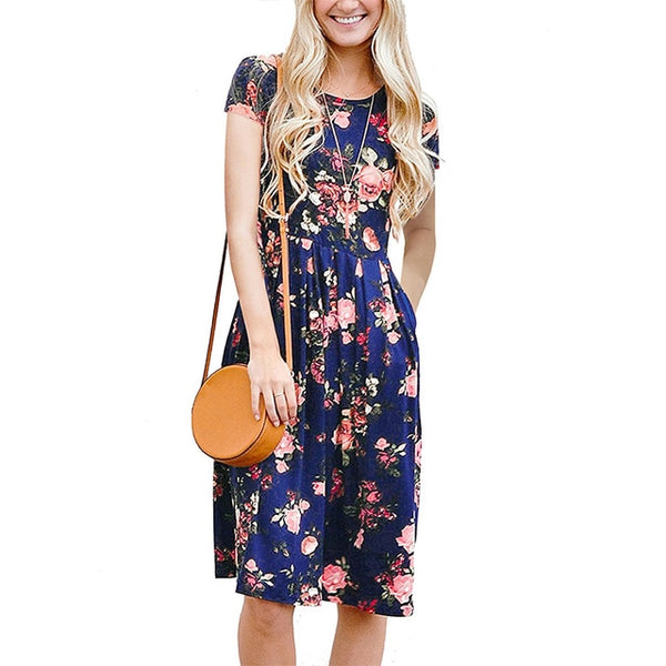 Women Summer Floral Print Sleeve O-Neck Dresses Beach