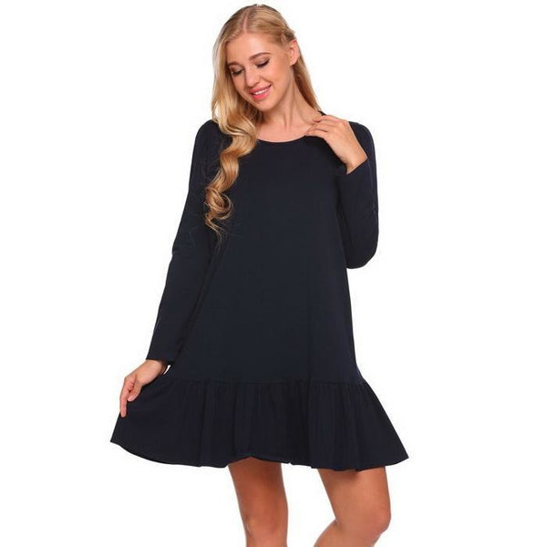 Nursing Ruffled Maternity Dress Long Sleeve Sleepwear