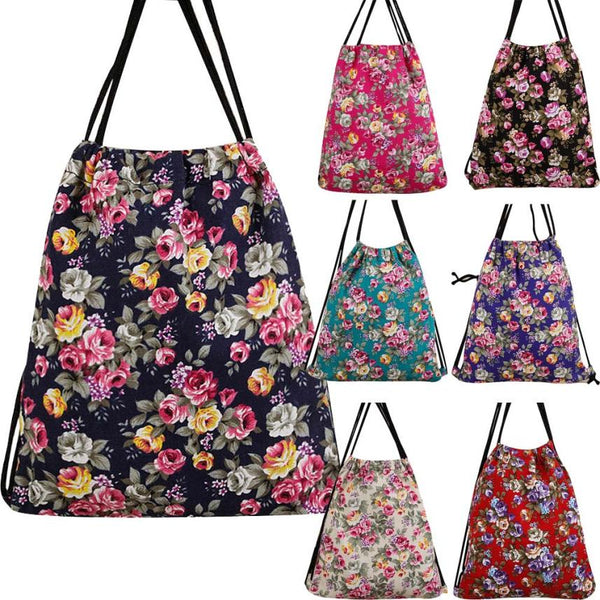 Neutral Girl Floral Drawstring Designer Backpack