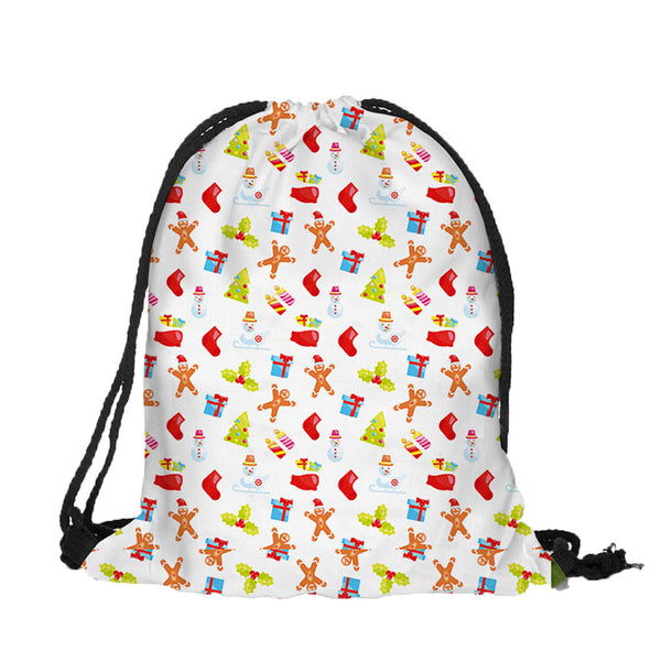 Drawstring Women Print Christmas Candy Bag
