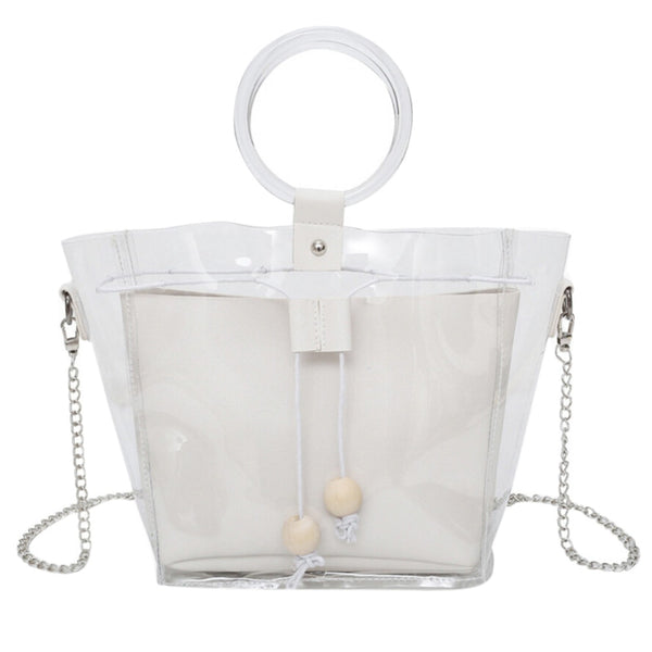 Transparent sub-bag chain single shoulder wooden