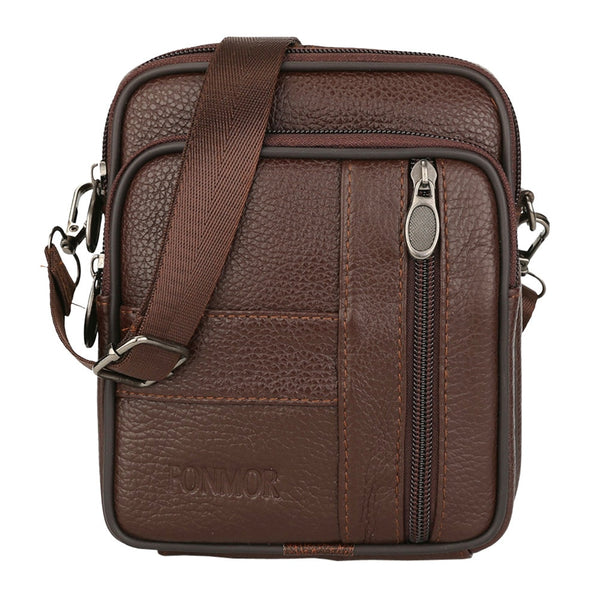 Man leather business single shoulder bag