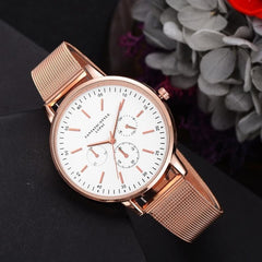 rose gold  women stainless steel Mesh Belt Casual Quartz Watch