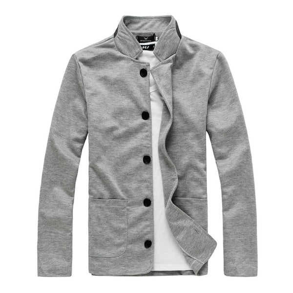Men's Casual Blazer Suits Cotton Stand Collar