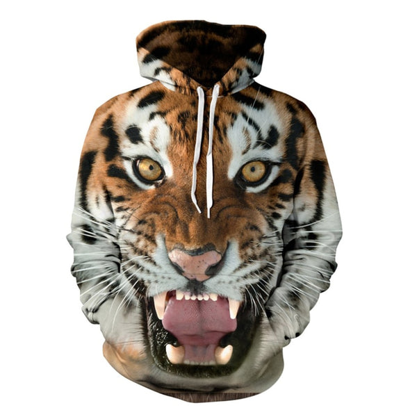 Men Hoodies College Jacket 3d Print Tiger Sweatshirt