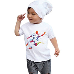 White T-shirt Summer Clothes Boys Printing Tops