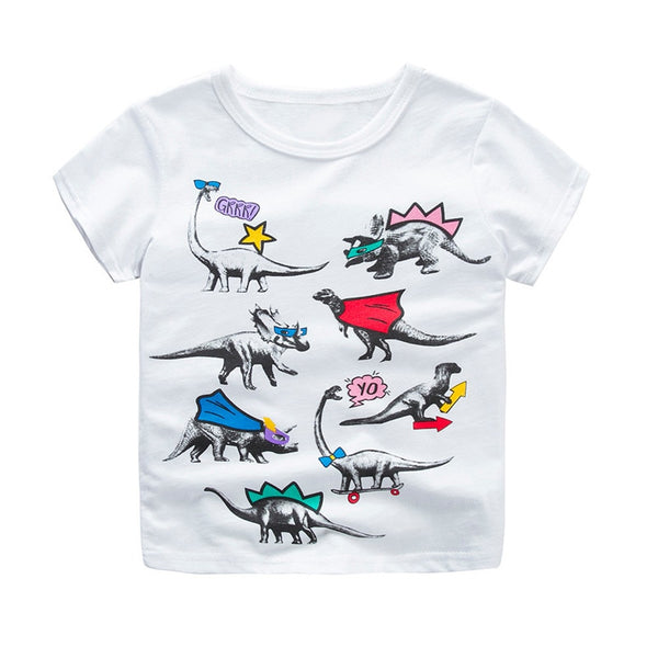 Boys Tops Children Cartoon Print Short Sleeve O-neck