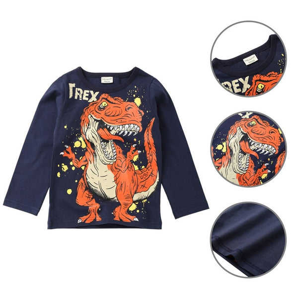 Children Boys Cartoon Dinosaur Print T-shirt Tops