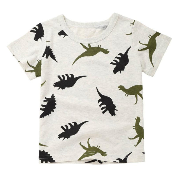 Children Baby Boys Summer Cartoon Dinosaur Print Tops
