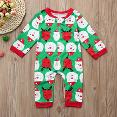 Cute Christmas Deer Print Romper Jumpsuit for Boys