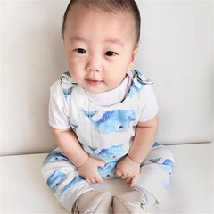 Summer Clothes Boys Blue Whales Print Romper