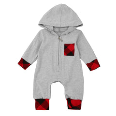 Rompers Baby Boy Plaid Hooded Jumpsuit